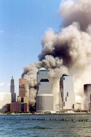 Twin Towers collapsing on Sept. 11, 2009