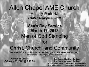 Allen Chapel AME Flyer for Men's Day Service