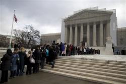 people in line in front of Supreme Court