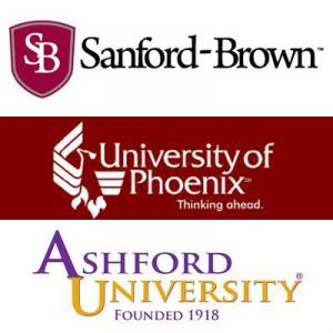 the logos of Sandford-Brown, University of Phoenix and Ashford University