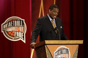 In this Sept. 8, 2013 file photo, inductee Bernard King speaks during the enshrinement ceremony for the 2013 class of the Naismith Memorial Basketball Hall of Fame at Symphony Hall in Springfield, Mass.