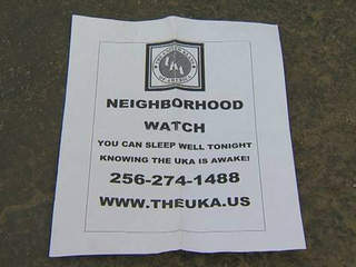 United Klans of America Neighborhood Watch flyer