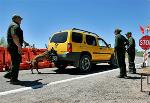The border patrol has dozens of in-land checkpoints around the Southwest and in northern states such as Washington. The checkpoints can be within 100 air miles of the country's border.