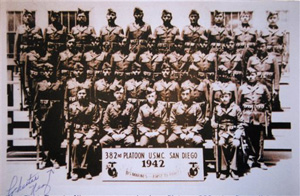 In this photo provided by the Nez family, Chester Nez, standing front left, of Albuquerque, N.M., poses with the first group of Navajo code talkers in 1942 in San Diego. Nez, the last of the 29 Navajos who developed the code that stumped the Japanese during World War II, died Wednesday morning, June 4, 2014, of kidney failure, said Judy Avila, who helped Nez write his memoirs. He was 93.