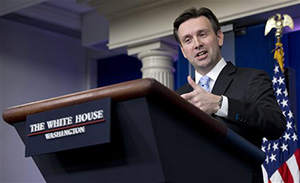 White House press secretary Josh Earnest speaks during the daily news briefing at the White House in Washington, Monday, Jan. 5, 2015. Earnest discussed House Majority Whip Steve Scalise of Louisiana., who admitted to speaking to a white supremacist group in 2002 and other topics.