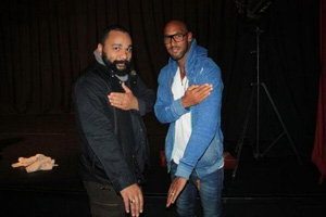 "Nicolas Anelka (right) with French comedian Dieudonne M'Bala M'Bala, who popularized the ""quenelle"", and has been convicted multiple times for inciting racial hatred or anti-Semitism."