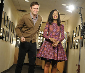 "This Oct. 29, 2013 photo released by NBC shows actress Kerry Washington, right, with cast member Taran Killam during a promotional shoot for ""Saturday Night Live,"" in New York. Washington hosted the late night comedy sketch series on Nov. 2."