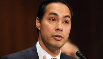 This June 17, 2014 file photo shows Housing and Urban Development Secretary nominee, San Antonio, Texas Mayor Julian Castro testifying on Capitol Hill in Washington. The Senate has easily confirmed San Antonio Mayor Julian Castro to head the Department of Housing and Urban Development. Wednesday's 71-26 vote makes the 39-year-old Castro one of the highest-ranking Hispanics in government.