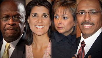 During the 2012 Election cycle, the Republican Party showcased the few minorities in its leadership ranks. Seen here are Presidential candidate, Herman Cain; South Carolina Governor, Nikki Haley; New Mexico Governor, Susana Martinez,  and former RNC chair, Michael Steele.