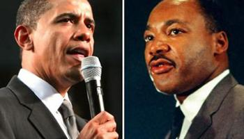portraits of Barack Obama and Martin Luther King, Jr.
