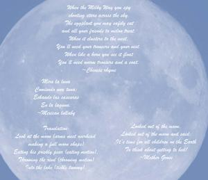 Words super-imposed over the moon