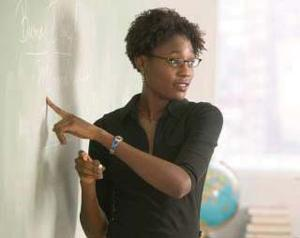 An African-American teacher