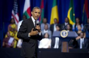 President Barack Obama speaks to participants of the Presidential Summit for the Washington Fellowship for Young African Leaders in Washington, Monday, July 28, 2014 during a town hall meeting. The President announced that the program will be renamed in honor of former South African President Nelson Mandela. The summit is the lead-up event to next week's inaugural U.S.-Africa Leaders Summit, the largest gathering any U.S. President has held with African heads of state.