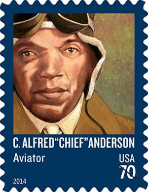 Commemorative stamp of Charles Alfred Anderson, the head instructor for the Tuskegee Airmen.