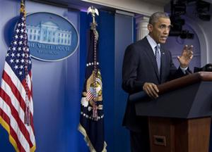 President Barack Obama speaks in the Brady Press Briefing Room at the White House in Washington, Monday, Nov. 24, 2014, after the Ferguson grand jury decided not to indict police officer Darren Wilson in the shooting death of Michael Brown.