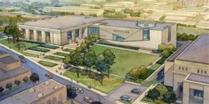 This is a 2013 artist's rendering provided by Hilferty & Associates, designers of the two new state museums-the Mississippi History Museum and the Mississippi Civil Rights Museum, side-by-side buildings, that are planned to be completed and open in 2017, in downtown Jackson, Miss. Officials say they did not set out to have separate-but-equal museums for the documentation of the state's history, but it could end up that way. Mississippi breaks ground Thursday.