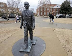 The James Meredith statue is seen on the University of Mississippi campus in Oxford, Miss., Monday, Feb. 17, 2014. A $25,000 reward is available for information leading to the arrest of two men involved in sullying the statue early Sunday, Feb. 16.