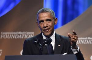 President Barack Obama speaks at the Congressional Black Caucus Foundation's 44th Annual Legislative Conference Phoenix Awards Dinner in Washington, Saturday, Sept. 27, 2014. Obama told the audience that the mistrust of law enforcement that was exposed after the fatal police shooting in Ferguson, Missouri, has a corrosive effect on all of America, not just on black communities.