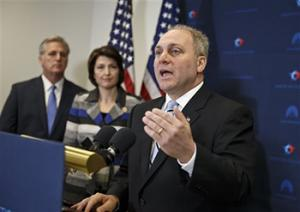 In this Nov. 18, 2014 file photo, House Majority Whip Steve Scalise of Louisiana, right, with House Majority Leader Kevin McCarthy of Calif., left, and Rep. Cathy McMorris Rodgers, R-Wash., speaks to reporters on Capitol Hill in Washington, following a House GOP caucus meeting. Scalise acknowledged that he once addressed a gathering of white supremacists. Now he is the third-highest ranked House Republican in Washington.
