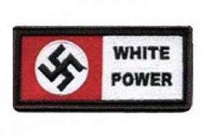 "Swastika and ""White Power"" clothing patch"