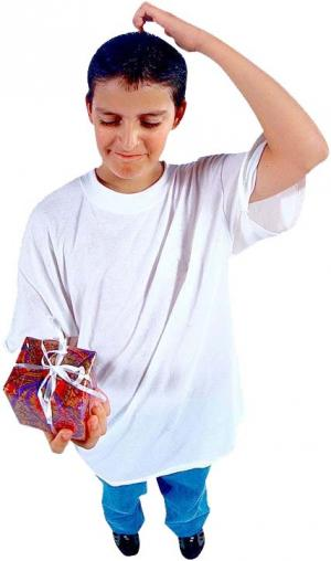 adolescent holding Christmas present