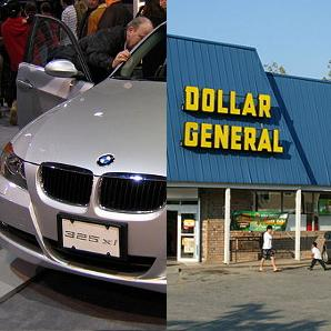 split screen of a BMW car and a Dollar General Storefront