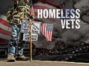 illustration of Homeless Vets, including soldier and American flag